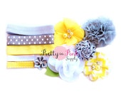 Grey and Yellow DIY Headband Kit #38 - DIY Headbands- Shabby Flowers - Baby Shower Station Headband Kit