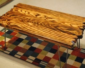 Hairpin leg Cypress coffee table, stained cherry and burned