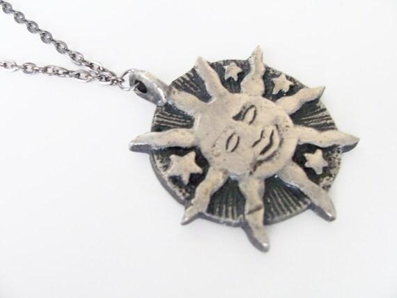 Sun and stars metal pendant necklace - gunmetal link chain - metal sun necklace - sun pendant necklace - symbolic sun stars jewelry