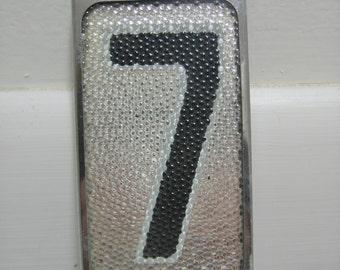 Vintage Reflective Glass House Number 7 NOS