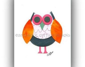 "Owl art, Woodland nursery art, Forest animal art, Giclee print 5 x 7"", Acrylic owl collage, Whimsical animal, Owl decor, Girls room art"