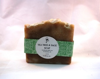 Tea Tree & Sage Handmade Soap - Cold Process, Vegan, All Natural