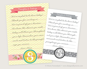 LDS Baptism Testimony Cards Printable: Floral Design -- Guests Write Their Thoughts & Feelings for a Great Keepsake, Memento, Memoriablilia