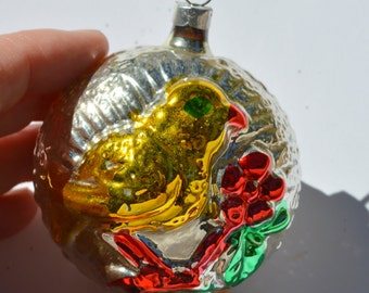 Large Two sided  Ball with Yellow Chick in tree Christmas Ornament German Glass Vintage