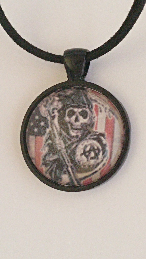sons of anarchy glass dome pendant by mysticaldivcreations