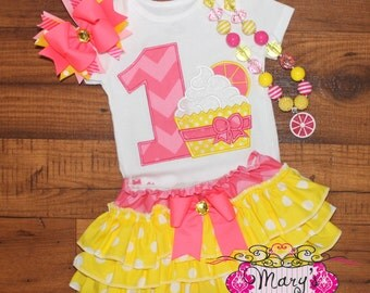 Pink Lemonade Cupcake Birthday Ruffled Bloomers Outfit