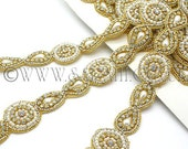 GOLD  STONE  RHINESTONE  trim, trimming, costume, sequin edging, stones, beads