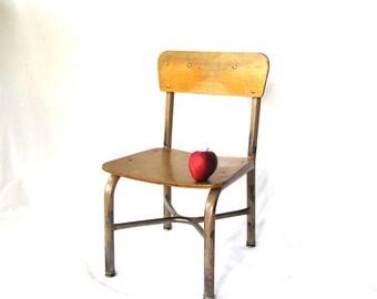 "Vintage Wood School Chair Metal, Small Kindergarten Size 11"""