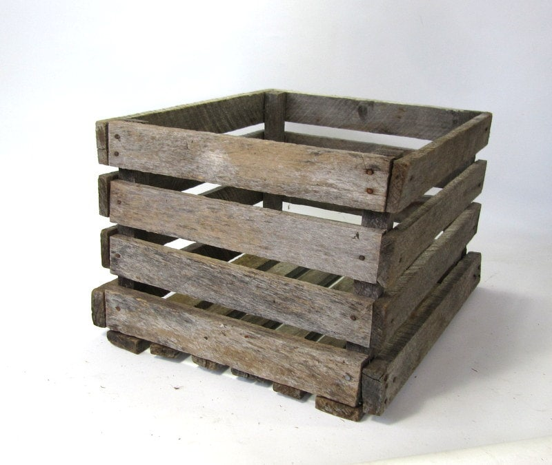 Wooden fruit crate box rustic wood fruit crate for Wooden fruit crates