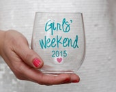 Girls Weekend Personalized Acrylic Stemless Wine Glass Cups