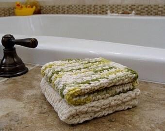 2 Handmade Washcloths 100% Cotton Ecru With Multi Green