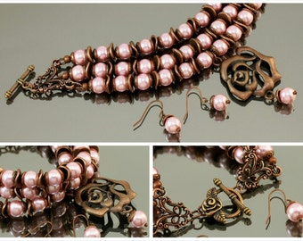 vintage bracelet -dusty rose pink, chunky bracelet,vintage pink, dusty rose and copper, dusty rose pearl beads