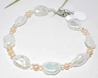 Freshwater Pearls and Oregon  Sunstone  Bracelet