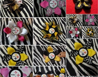 Sporty Bottlecap Football Pittsburgh Steelers Pink Camo Logo Hair Bow on Lined Alligator Clip