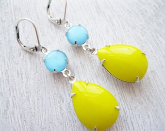 Retro drop Earrings, Yellow and Blue Earrings, Summer Jewellery, Bright Colours, Neon, 80s style, Vintage Rhinestones, Yellow Earrings
