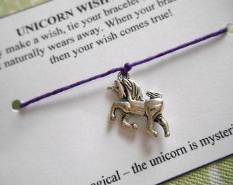 Unicorn Wish Bracelet - Wish Bracelet - Unicorn Bracelet - Party Favor - Wishing Bracelet - Unicorn Charm Bracelet - Gift