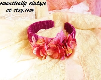 Handmade Headband, Pink Ribbon, Flowers, Head Crown, Shabby Chic, Wedding, Accessories