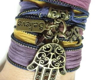 Silk Wrap Bracelet Yoga Jewelry Spiritual Hamsa Om Jewelry Zen Namaste Bohemian Yoga Ribbon Bracelet Boho Chic Jewelry Unique Birthday Gift
