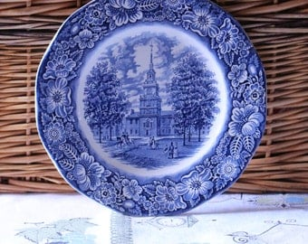 Vintage 1970's Liberty Blue Plate in Blue and White Transfer Ware Liberty Hall Made in England