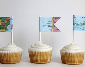 Set of 12 map cupcake toppers, flag, travel theme