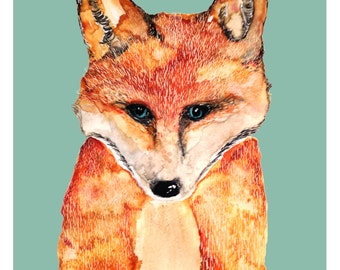 Fox Illustration/ Print Drawing Animal Illustration Fox Print