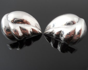 Leaf Earrings, Puffy Earrings, Sterling Silver Earrings, Heavy 925 Earrings, 925 Clip On, Nestor Mexico 925 Earrings, 925 Leaf Earrings