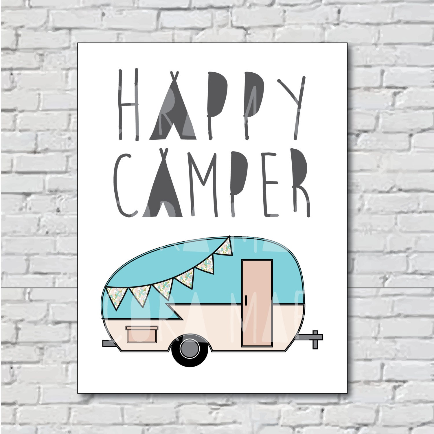 Happy Camper printable nursery wall art. Comes in 3 sizes 300