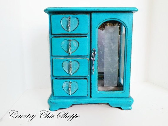 Caribbean Blue Favor Boxes : Caribbean blue fancy jewelry box vintage by countrychic pe
