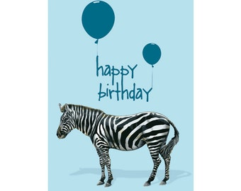 A6 Greeting Card - Happy Birthday Zebra