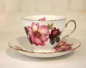 "Vintage English Bone China ""Queen Anne"" Cup and Saucer with Roses"