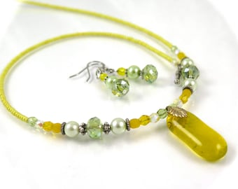MAJOR MARKDOWN - Summer Yellow and Light Sage Green Beaded Dichroic Fused Glass Necklace