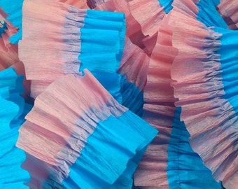Turquoise and  Pink Ruffled Crepe Paper Streamers - 36 Feet - Party Decoration - Craft and Party Supplies