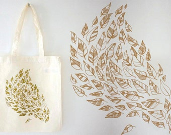 SALE! A Golden Storm tote bag, gold print on eco cotton