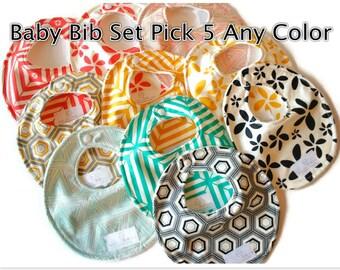 Baby Bibs Pick 5 of Your Choice Baby Bibs - Drool Bib - Newborn Bib - Baby Shower Gift - New Mom Gift SKU: Combined