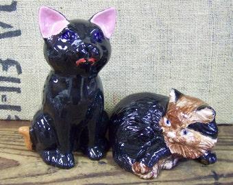 Vintage Ceramic Cats Black Cat Calico Cat