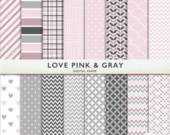 Love Pink and Gray Digital Paper - 16 Sheets - Scrapbooking Instant Download Cardstock G7333