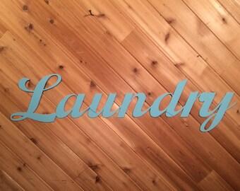 Script Laundry Sign - Metal Wall Decor - Metal Wall Art By PrecisionCut