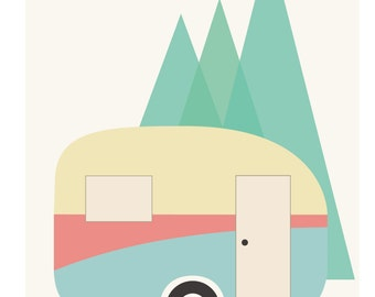 Retro Caravan 'Happy Camper' Poster Print Instant download digital file for you to print only