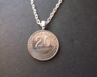 Argentina Coin Necklace -Republic of Argentina 1950 Coin Pendant with Bail and Chain-