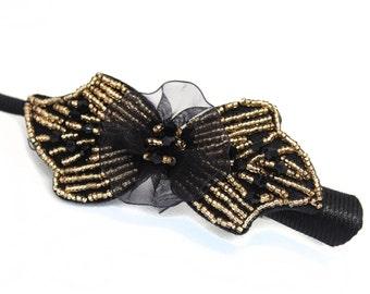Beaded Bow Tie Hair Clip