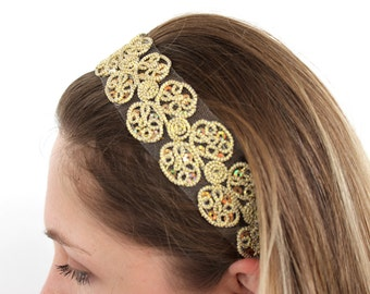 Gold Lace Flower Head Band
