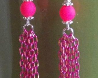 Dangle Drop Neon Pink Earrings Trendy Earrings Neon Pink Chain Hot Pink Earrings