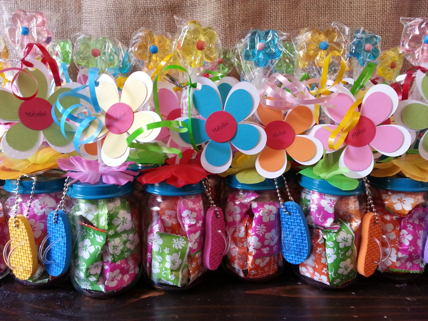 hawaiian luau party favors baby food jar party favors