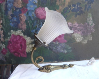 ART NOUVEAU bronze sconce lamp wall hanging with original tulip glass scalopped shade 1900 free shipping made in France shabby chic vintage