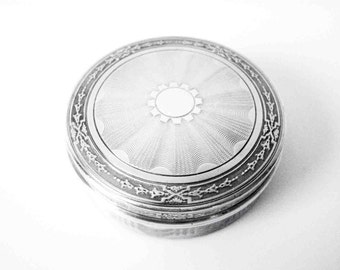 French Sterling Silver Engine Turned Round Box