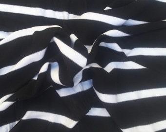 SOLD Modal Cotton Spandex Fabric Black White Hi Low Stripe Jersey Knit By the Yard 1/13
