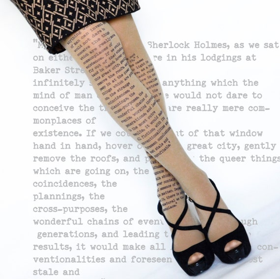 Sherlock Holmes Opaque Tights , Literary tights , Poetry tights , Poem Tights