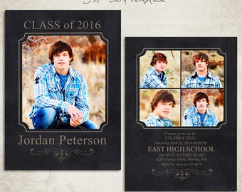 Senior Graduation Announcement Template for Photographers 005 - ID0103, Instant Download