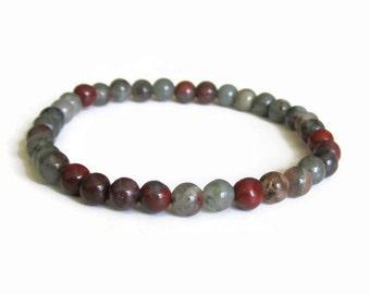 Bloodstone 6mm Stretch Bead Bracelet, Gemstone Stretch Bracelet, Stackable Beaded Bracelets