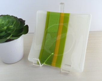 Handmade Fused Glass Dish in Spring Green